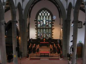 The view of the sanctuary of Holy Trinity Church, Huddersfield, taken from the back of the balcony.