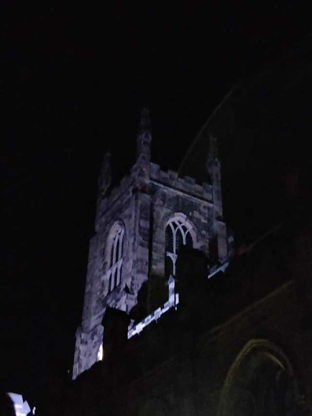 Holy Trinity Huddersfield tower was illuminated at night leading up to celebrations of its bicentenary in October 2019.