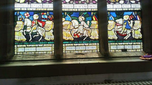 Holy Trinity Church Huddersfield war memorial window, bottom panel.
