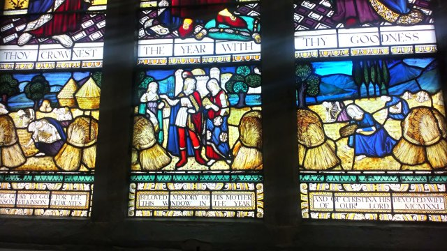 Stained glass window, Ruth gleaning in the fields.