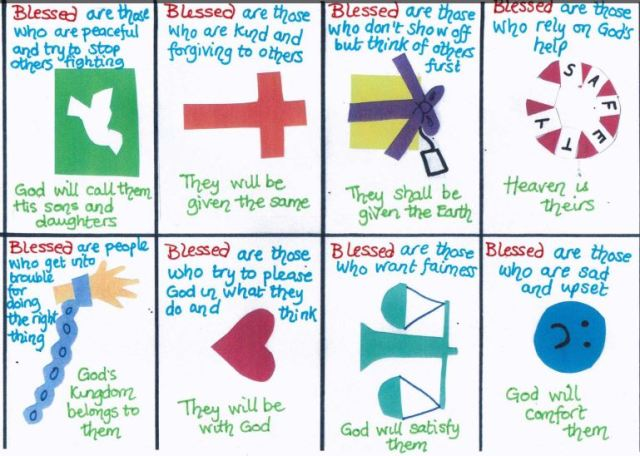 Eight diagrams illustrating the beatitudes