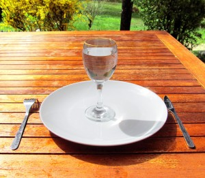 A glass of water on an empty plate
