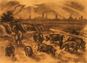 A sepia and black picture of a herd of pigs and a swineherd.