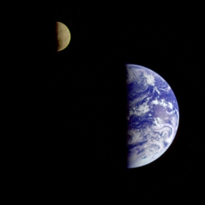 Earth and the moon from space, taken from Explorer I