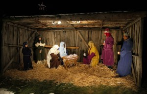 A typical Christmas manger scene featuring shepherds and magi.