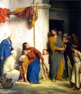 Jesus receiving children brought to him