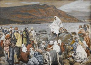 Painting: Jesus teaching crowds on a lakeside.