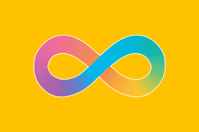 The neurodiverse symbol, an infinity symbol in rainbow colours, on a gold background.