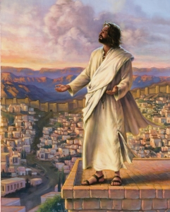 Jesus is standing on the edge of the Temple roof, the city of Jerusalem laid out before him.