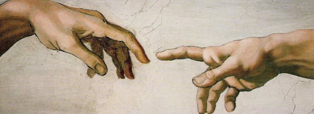 Detail from the picture The Last Judgement by Michelangelo showing the finger of God reaching out towards the hand of man.