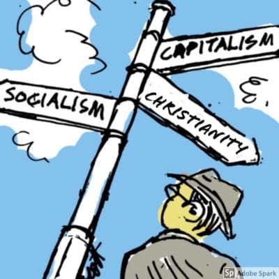 A man stands by a road junction. A sign points in three directions, marked as Socialism, Capitalism and Christianity.