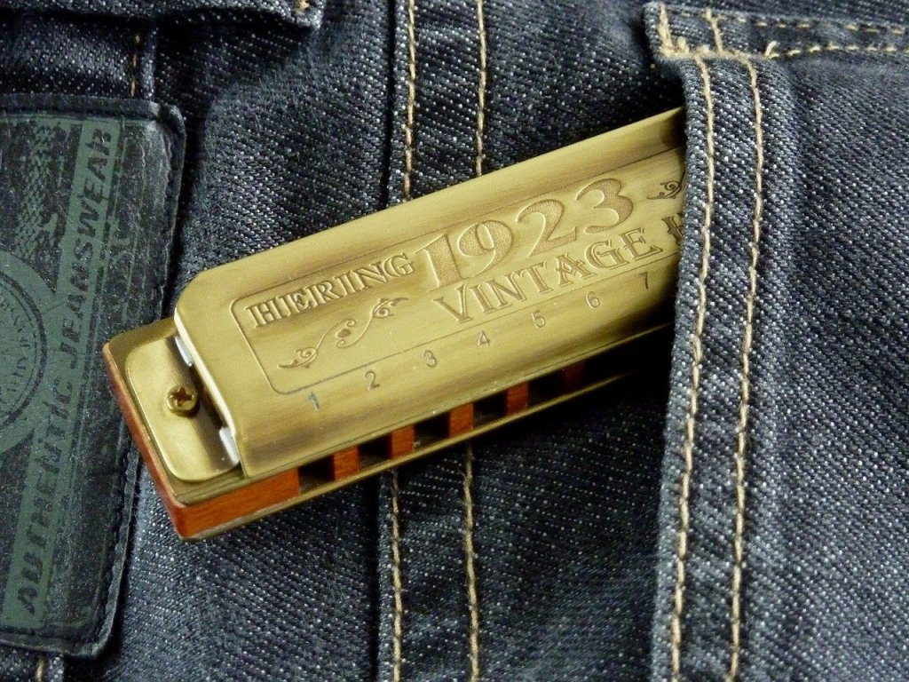 A blues harmonica is halfway out of a back pocket of a pair of jeans.