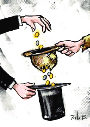 A cartoon showing a rich man putting money into a poor man's hat only for the coins to fall through holes in the poor man's hat into the rich man's top hat.