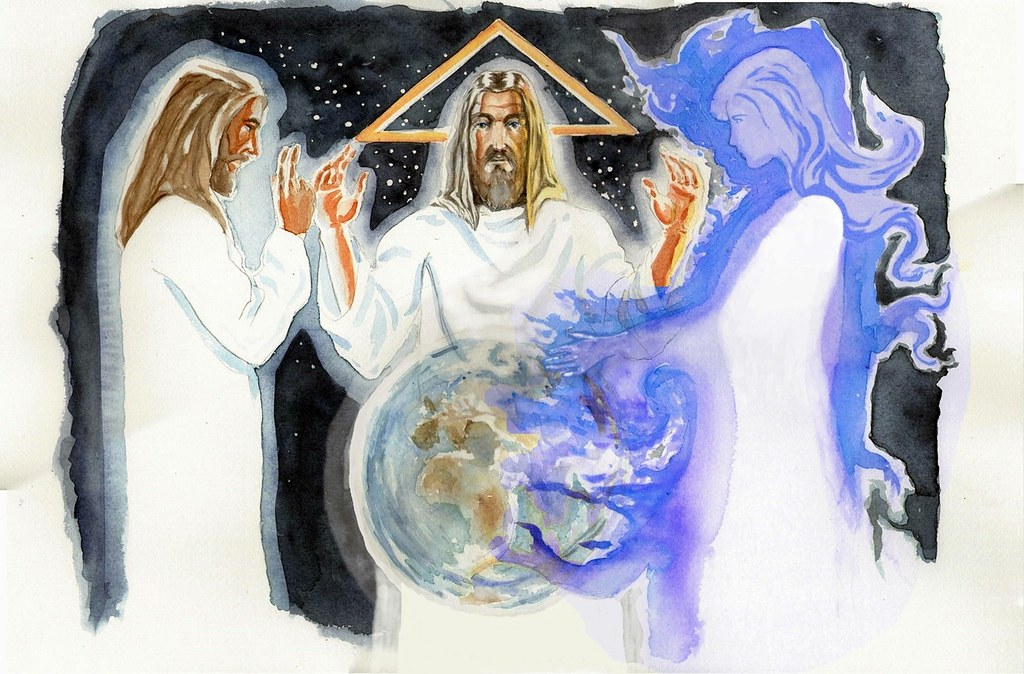 An icon of the Holy Trinity. The Father is standing centre, depicted as an old man,the Ancient of Days,to the left stands Jesus.In front of the Father is the world, planet earth seen from space.The waters of the earth continue to the left and fully envelop the Holy Spirit, depicted here in female form.